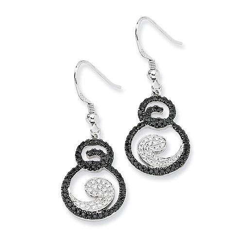 Sterling Silver White & Black Diamond Fancy Dangle Earrings