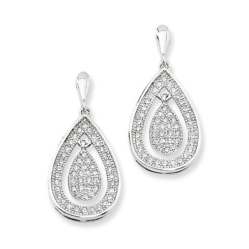 Sterling Silver & CZ Teardrop Dangle Post Earrings