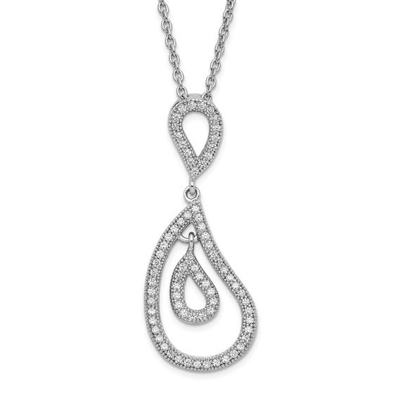Sterling Silver & CZ Fancy Polished Teardrop Necklace