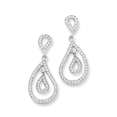 Sterling Silver & CZ Teardrop Dangle Post Earrings