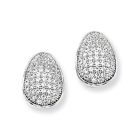 Sterling Silver & CZ Egg Shaped Post Earrings