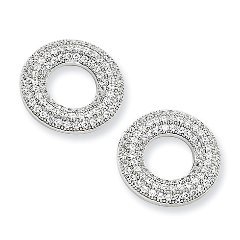 Sterling Silver & CZ Polished Circle Post Earrings