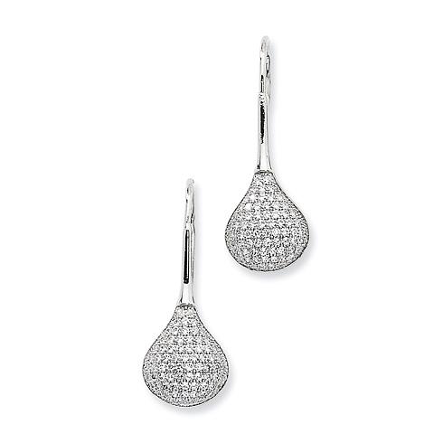 Sterling Silver & CZ Polished Fancy Earrings