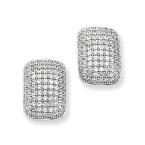 Sterling Silver & CZ Oblong Post Earrings