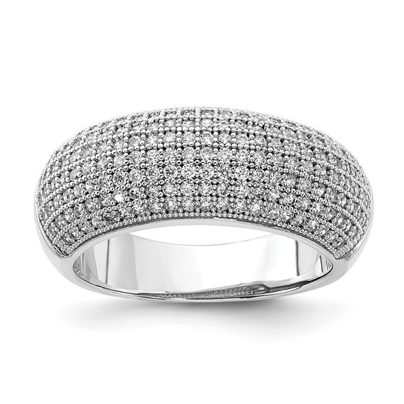 Sterling Silver & CZ Fancy Polished Ring