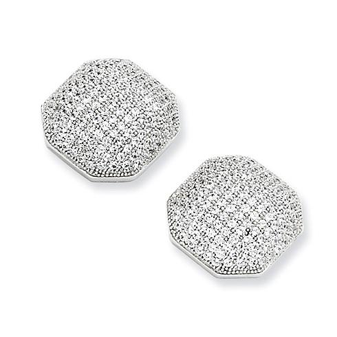 Sterling Silver & CZ 1/2in Octagonal Earrings