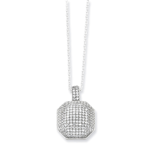 Sterling Silver & CZ  Octagonal Necklace