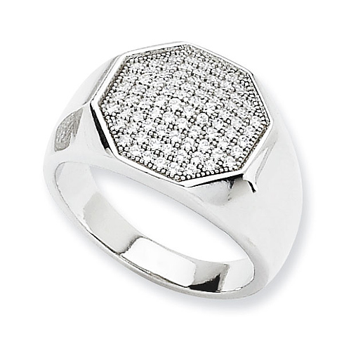 Sterling Silver & CZ Octagonal Ring