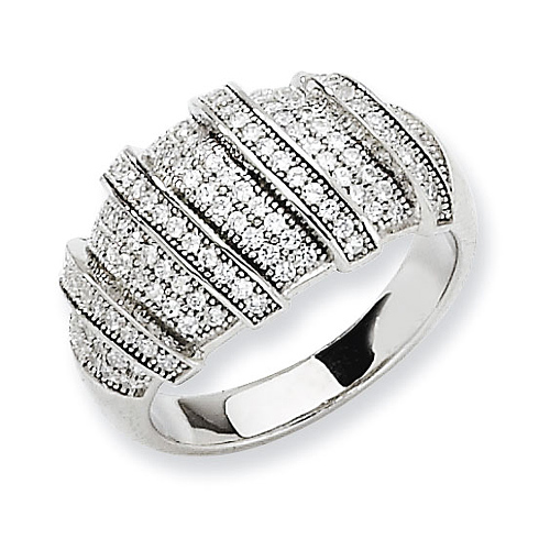Sterling Silver & CZ Polished Fancy Ring