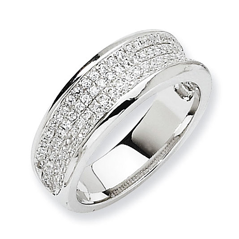 Sterling Silver & CZ Concave Ring