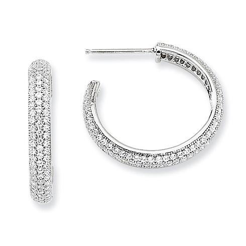 Sterling Silver & CZ 7/8in Hoop Earrings