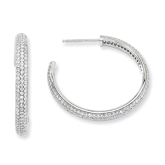 Sterling Silver & CZ 1in Hoop Earrings