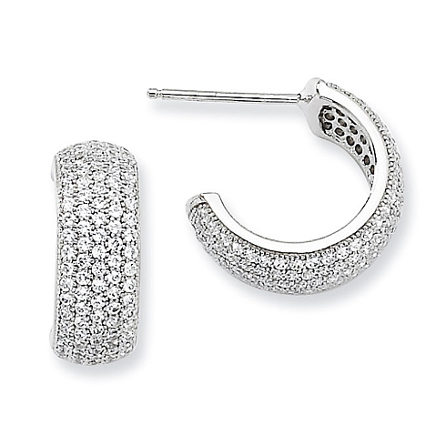 Sterling Silver & CZ 15mm Huggie Earrings