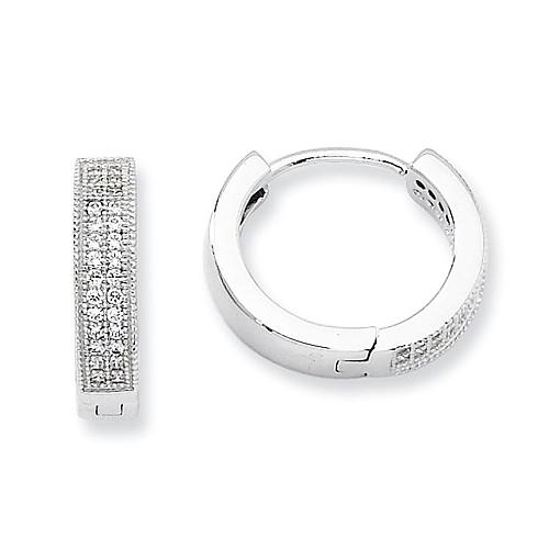 Sterling Silver & CZ Fancy Hinged Hoop Earrings