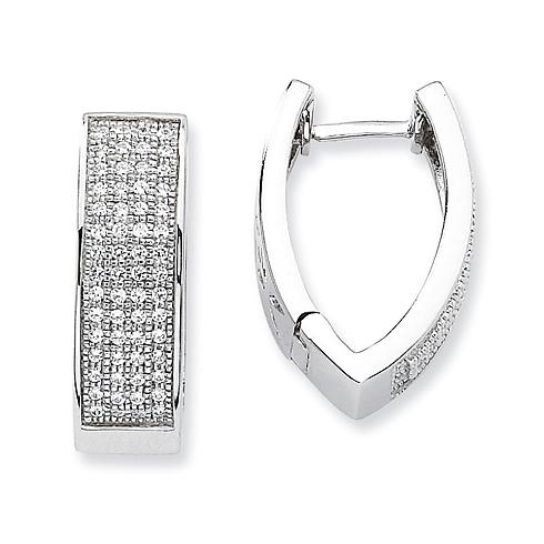 Sterling Silver & CZ Fancy Hoop Earrings