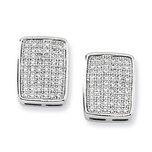 Sterling Silver & CZ Fancy Post Earrings