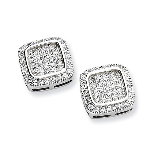 Sterling Silver & CZ Fancy Post Earrings