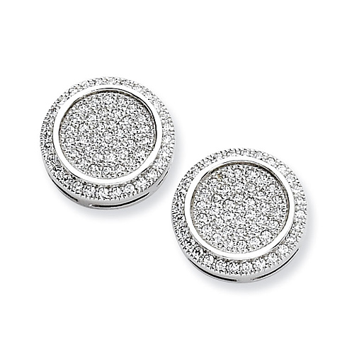 Sterling Silver & CZ Fancy Circle Post Earrings