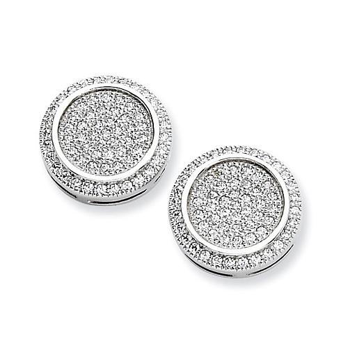 Sterling Silver & CZ Fancy Circle Post Earrings