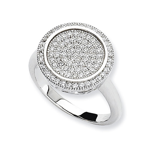 Sterling Silver & CZ Fancy Circle Ring