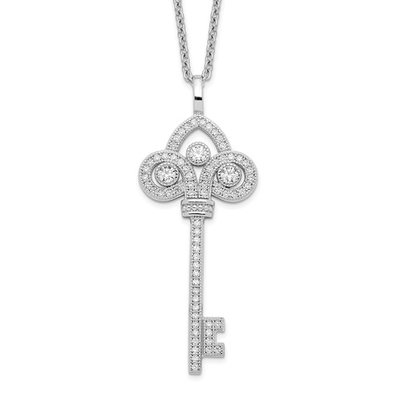 Sterling Silver CZ Polished Key Necklace