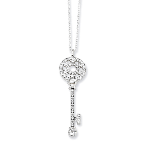 Sterling Silver & CZ Key 18in Necklace