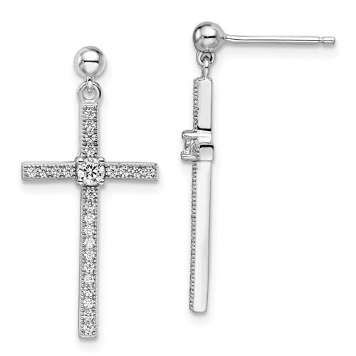 Sterling Silver & CZ Polished Cross Dangle Earrings