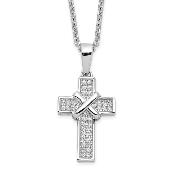 Small Cross Necklace with Cubic Zircon