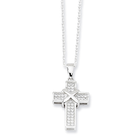 Sterling Silver & CZ Polished Cross Necklace