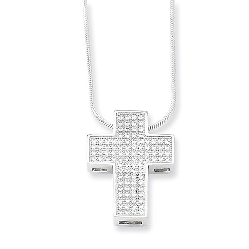 Sterling Silver and Cubic Zirconia 3/4in Cross Necklace