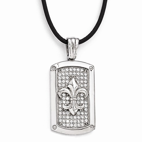 Sterling Silver & CZ Fleur de Lis Dog Tag with 18in Leather Cord