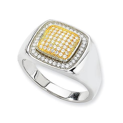 Sterling Silver, Vermeil & CZ Polished Men's Ring