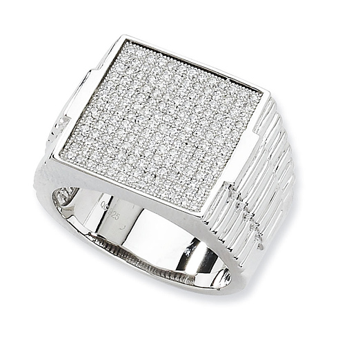 Sterling Silver & CZ Polished Mens Ring