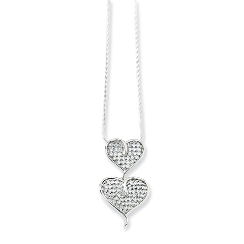 Sterling Silver & CZ Polished Double Heart Necklace