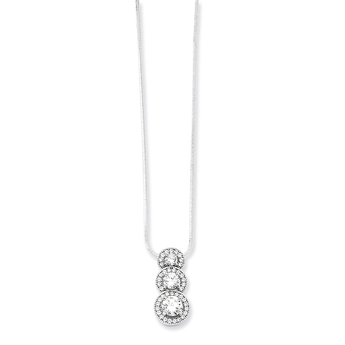 Sterling Silver & CZ 3-Stone Halo Style Necklace