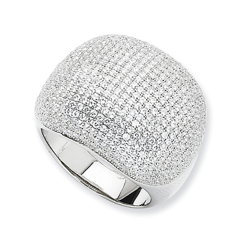 Sterling Silver & CZ Polished Wide Domed Pave Ring