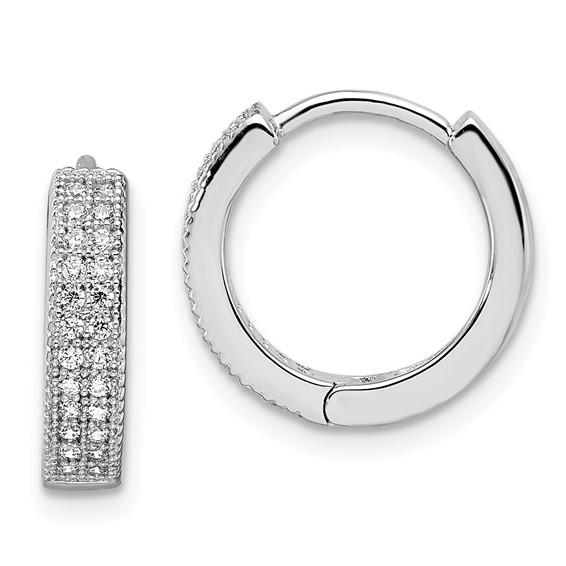 Sterling Silver & CZ 1/2in Polished Hinged Hoop Earrings