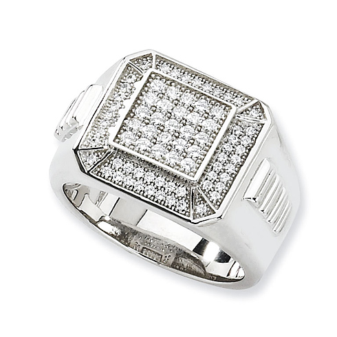 Sterling Silver & CZ Men's Ring with Ridged Shank