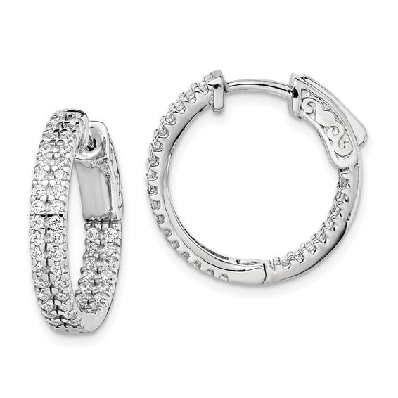 3/4in Sterling Silver CZ Hoop Earrings