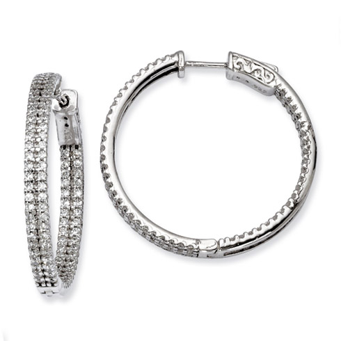 1 1/4in Sterling Silver CZ Hoop Earrings