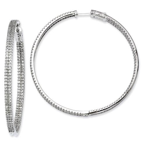 2in Sterling Silver CZ Hoop Earrings