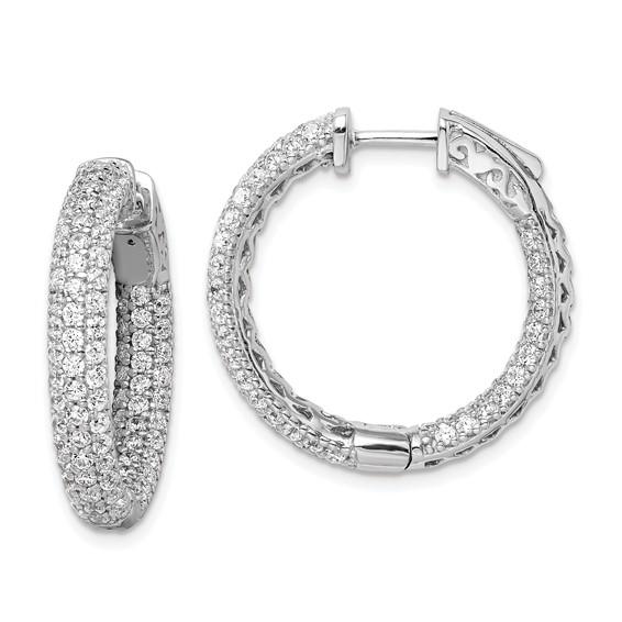 7/8in Sterling Silver CZ Hoop Earrings