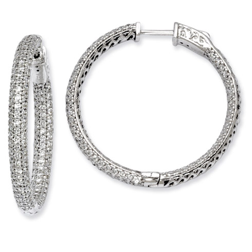 1 3/8in Sterling Silver CZ Hoop Earrings