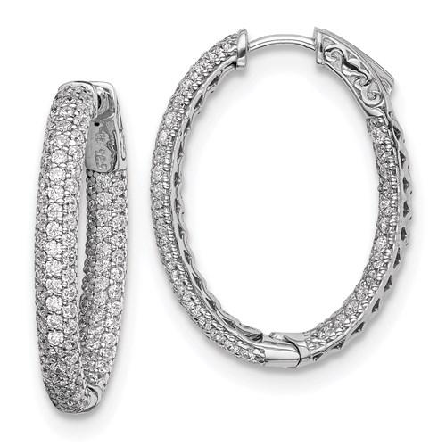 Sterling Silver 1 1/8in CZ Oval Hoop Earrings