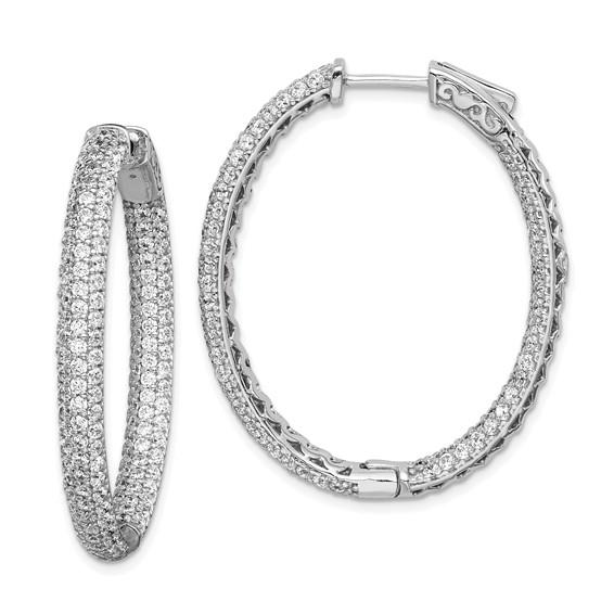 1 1/2in Sterling Silver CZ Oval Hoop Earrings