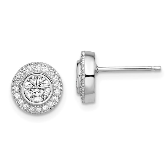 Sterling Silver & CZ Polished Post Earrings