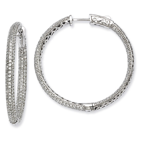 Sterling Silver with Pavé CZ Hinged Hoop Earrings