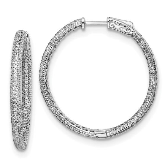 Sterling Silver with Pavé CZ Hinged Hoop Earrings