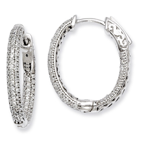 7/8in Sterling Silver with CZ Hinged Oval Hoop Earrings