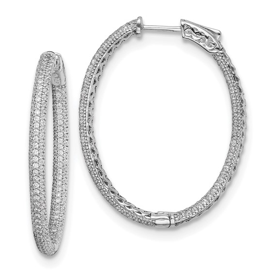 1 1/2in Sterling Silver with CZ Hinged Oval Hoop Earrings